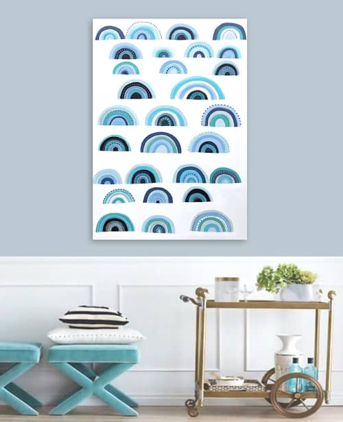 'BLUE MONDAY' original abstract painting by Linnea Heide | Paintings by Linnea Heide contemporary fine art