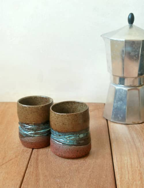 Small Ceramic Cups Set of 2 Small Teacups | Cups by ShellyClayspot