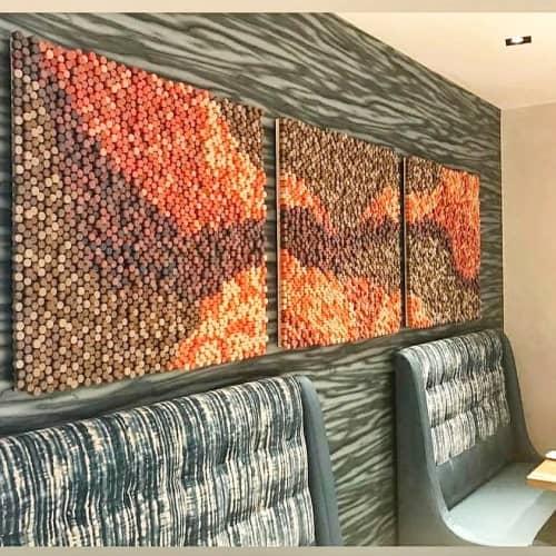 Wall Hangings by Erin Harris seen at Renaissance Newport Beach Hotel, Newport Beach - Wine Cork Art Installation