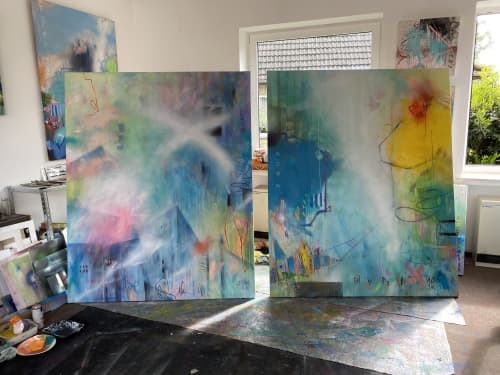 commission artworks for a private villa in Florida/US   Interior Design by Bea Garding Schubert