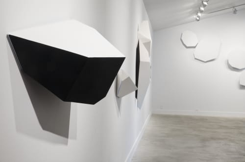Sculptures by Dameon Lester seen at grayDUCK Gallery, Austin - White & Blue on Black Fragmentation