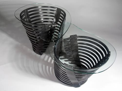 Tables by Alicia Dietz Studios seen at Private Residence, San Francisco - Bent Lamination Glass Top Coffee Table