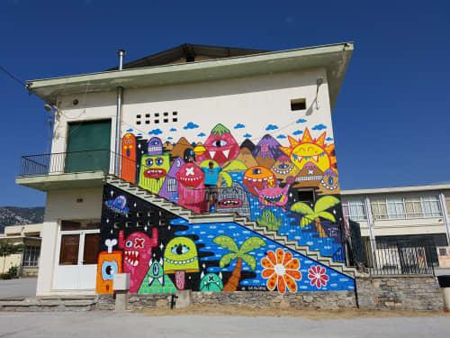 School in Volos, Greece | Street Murals by Ox-Alien