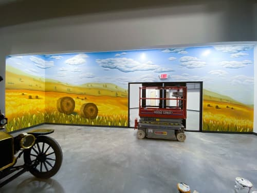 Farm Scene   Street Murals by Ali Hval   Antique Car Museum of Iowa in Coralville
