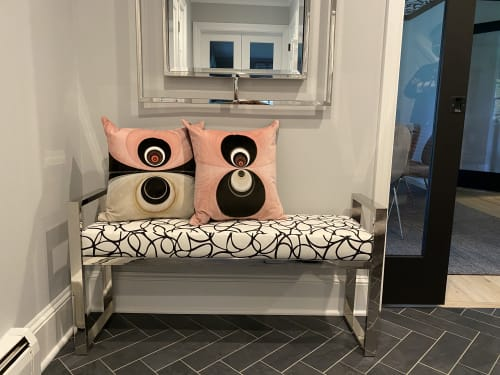 Pillows by Joanie Landau seen at Private Residence, Weston - VelvetPOPPillows JLD23_Foxy Lady and JLD22_Dream On