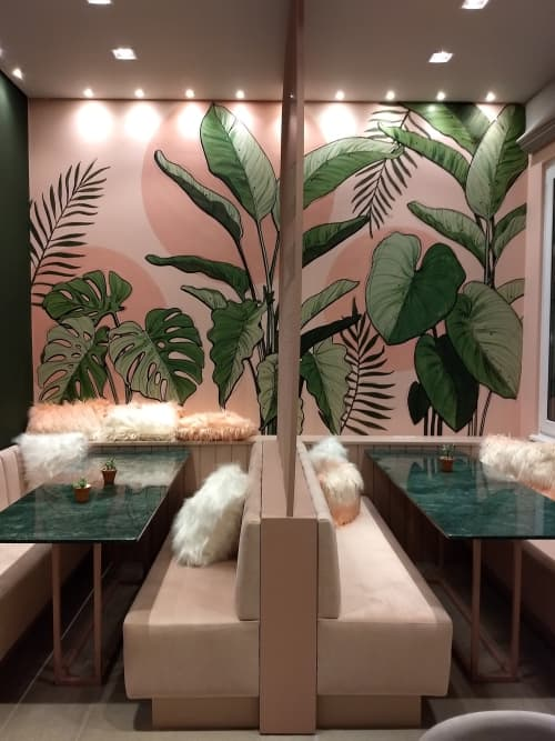 Murals by Estúdio Pepper seen at Senhora Farinha Bakery, Victor Konder - Ruby Room foliage