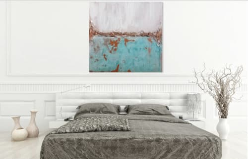 Real Copper Original Abstract Painting Extra Large Canvas | Paintings by León Dragón