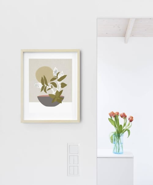 Paintings by Birdsong Prints seen at Creator's Studio, Denver - Ikebana Botanical Art Print