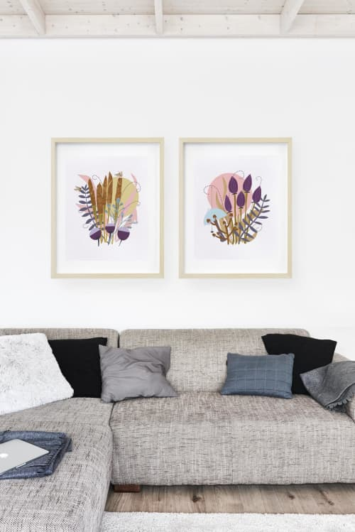 Paintings by Birdsong Prints seen at Creator's Studio, Denver - Scandinavian Art, Botanical Print, Set of 2