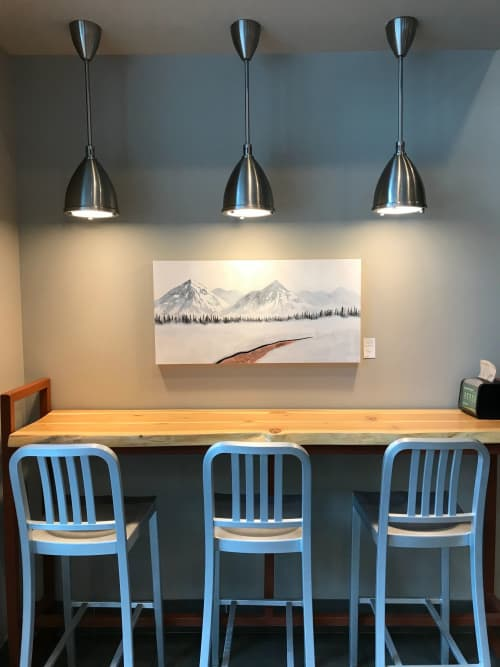 Paintings by Aimy Van der linden seen at Good Earth Coffeehouse - Centennial Place, Calgary - Roadside