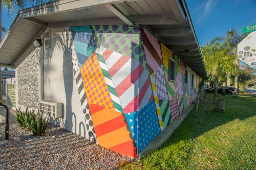 Murals by Jason Woodside seen at Hotel Palms, Atlantic Beach - Mural