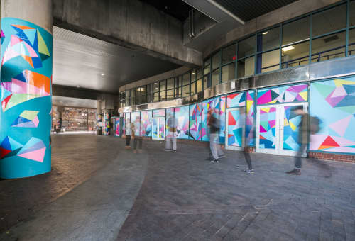 Street Murals by Isenberg Projects - Window and  Column Treatment - Crossing Crystals
