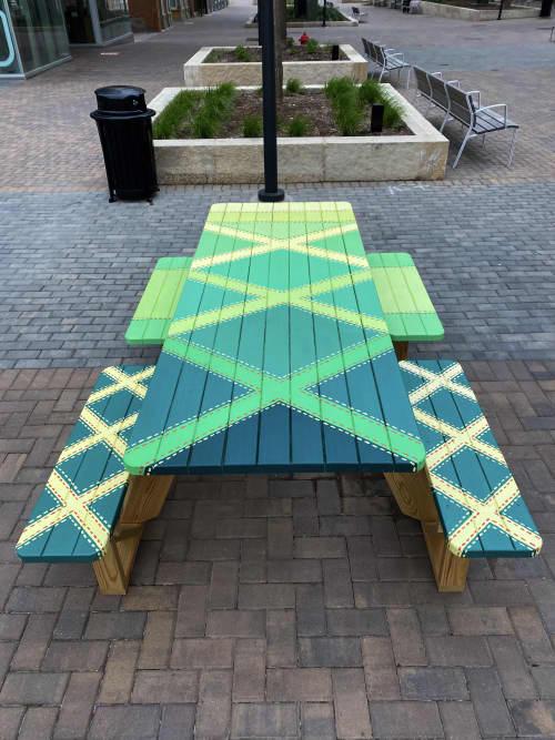 Neon Quilts (Set of Six Picnic Tables) | Public Art by Ali Hval
