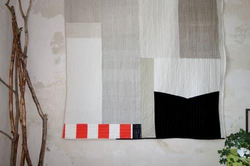Black white linen quilt   Art & Wall Decor by DaWitt   Farbenfabrik in Leipzig