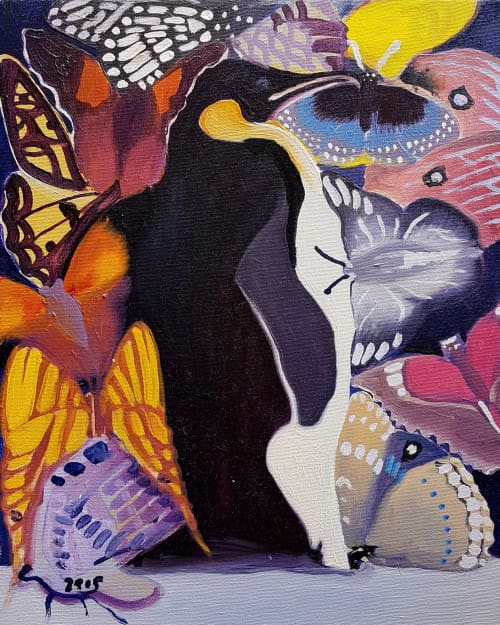 Penguins and Butterflies | Paintings by Paul Martin