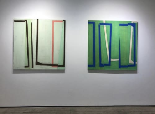 Two oil on canvases: Jump Cut E3 and Jump Cut E6   Paintings by Steven Baris   Kathryn Markel Fine Arts in New York