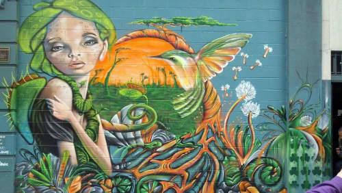 Street Murals by Max Ehrman (Eon75) seen at Tenderloin, San Francisco - Serina the Siren