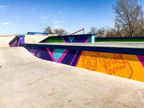 Murals by Brooke Rowlands seen at Lake Hefner Parkway, Oklahoma City - Funky Floral Flows