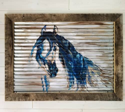 Horse on Corrugated Steel | Paintings by Sweet De'sign