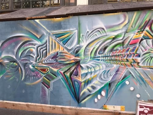 Street Murals by Max Ehrman (Eon75) seen at Ellis St & Leavenworth St, San Francisco - 15'x8' Mural Section