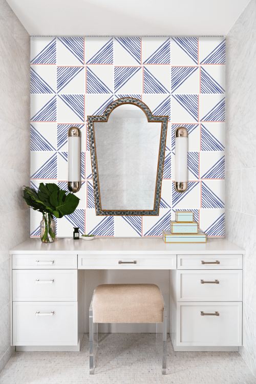 Algiers Blue Coral Tile   Tiles by Dekar Design