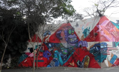 Street Murals by Léo Araújo seen at Santo André, Santo André - Somos um todo