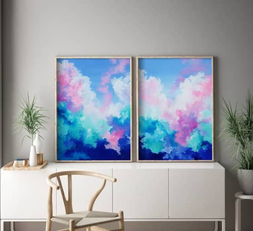 Tranquil Clouds I and II   Paintings by Jessica Swan