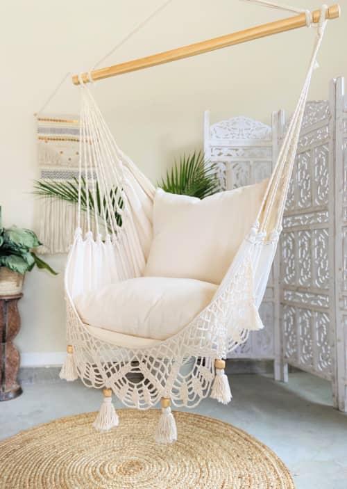 Furniture by Limbo Imports Hammocks seen at Creator's Studio, Atlanta - Macrame Crochet Hammock Chair + 2 Pillows LUCIA
