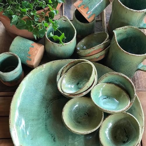 Green Glaze Dinnerware | Ceramic Plates by Melissa Lellouche