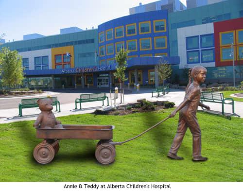 Annie & Teddy | Public Sculptures by Don Begg / Studio West Bronze Foundry & Art Gallery | Alberta Children's Hospital in Calgary