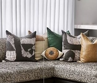 Pillows by Mommani Threads seen at Private Residence, Chicago - BROWN EYE cotton sateen sculpted pillow / custom made