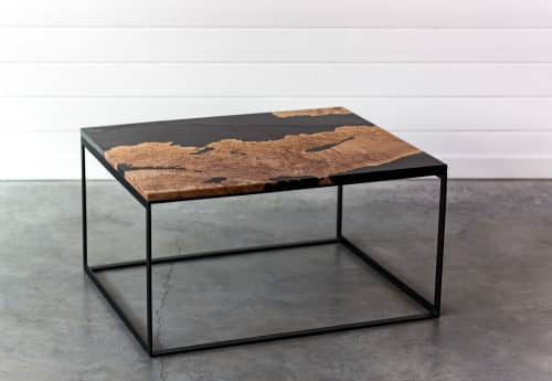 Maple Burl Live Edge Resin Coffee Table   Steel Base   Handmade   Modern Furniture   Tables by SAW Live Edge   SAW Live Edge Studio in Kimberley
