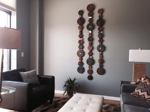 Circle Sticks with Single Square   Wall Hangings by Rhonda Cearlock