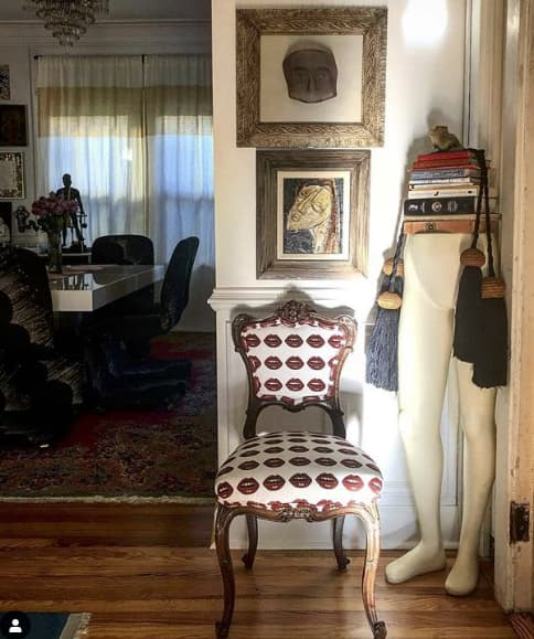 Furniture by Mommani Threads seen at Private Residence, Jacksonville - BISOUS BISOUS! LIPS private label cut velvet / made to order