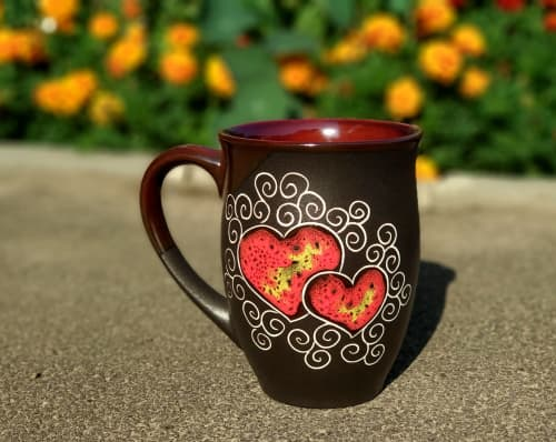 Cups by Cupscho seen at Private Residence, Kharkiv - Pottery coffee mug «Red Heart» 16.9 fl oz