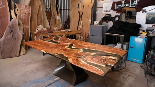 Carob & Copper Resin River Dining Table | Tables by Lumberlust Designs