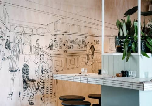Feature Wall and Menu Boards | Murals by Mielo | The Alcott in Lane Cove