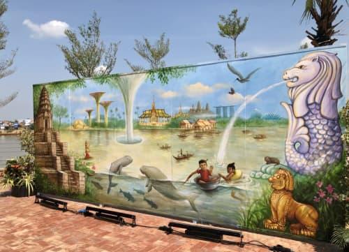 Street Murals by Yip Yew Chong at WB Arena, Phnom Penh - Magical River