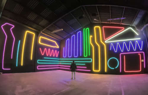 Interactive Neon Mural #10 -INM#10-   Street Murals by Spidertag
