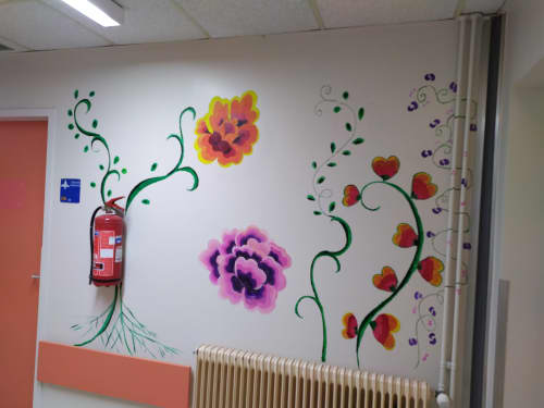 Murals by Tania Christoforatou seen at University General Hospital of Heraklion - Pink and orange flowers on wall
