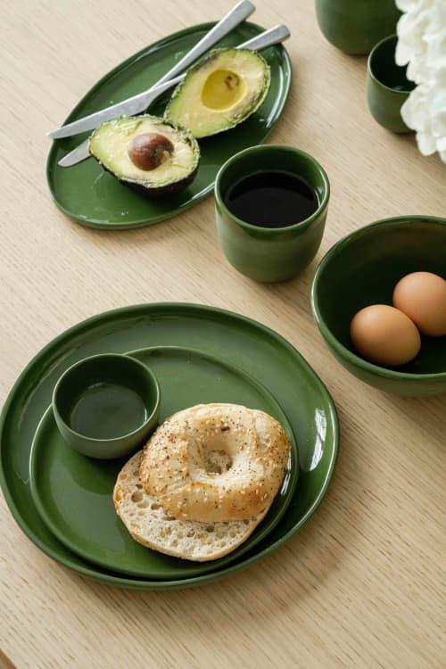 HANDMADE PORCELAIN DINNER SET. GREEN   Ceramic Plates by Creating Comfort Lab