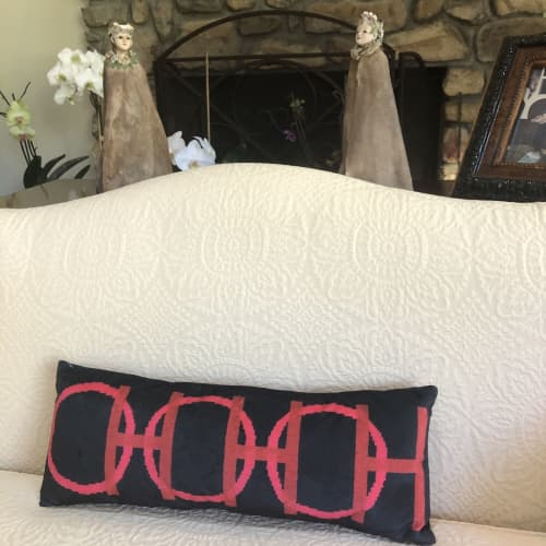 Pillows by Mommani Threads seen at Private Residence, Blowing Rock - OH OH OH - HO HO HO velvet lumbar feather down pillow
