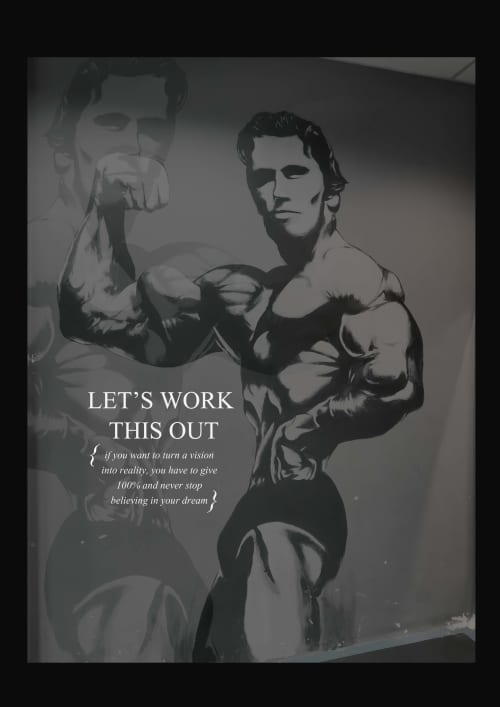 Murals by CreationOfTwo_Co2 seen at Vo2 Energym, Muar - Fitness Gym Murals   Arnold Schwarzenegger Figure by Co2