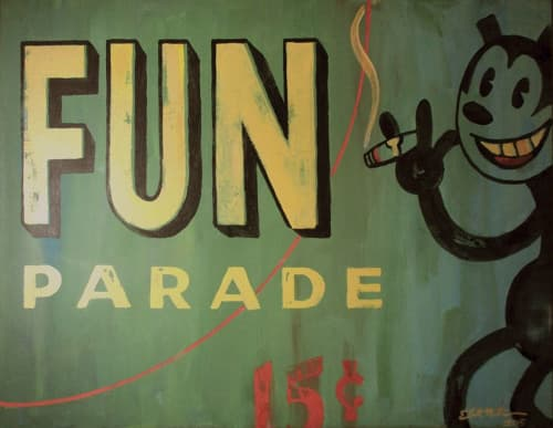 """Paintings by Elliott Mattice Art & Design seen at Private Residence, Seattle - """"Fun Parade"""" distressed acrylic on canvas"""
