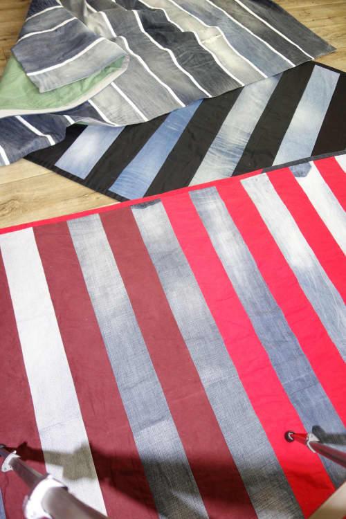 Denim stripe quilt | Wall Hangings by DaWitt