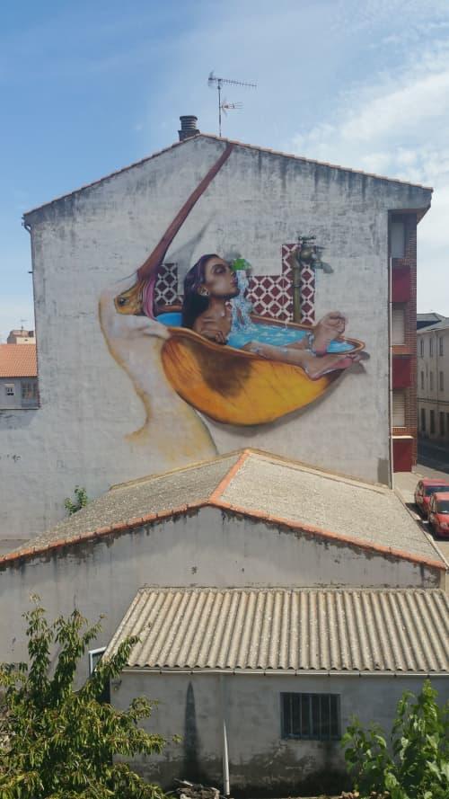 mujer bañandose en pelicano | Murals by El ROJO... graffitero  , dedicado a dar color en lugares grises