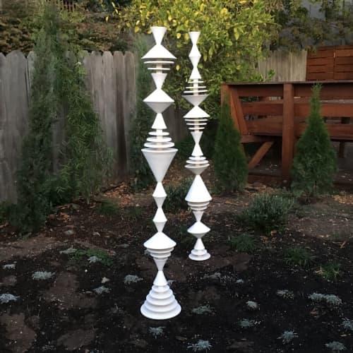 White Garden Cones Sculpture | Sculptures by Zuzana Licko
