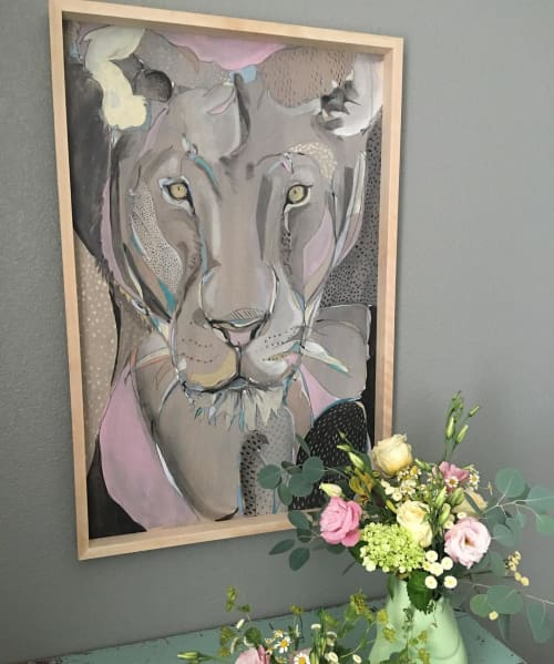Paintings by Emily Reid seen at Private Residence, Reno - Lioness Totem Painting