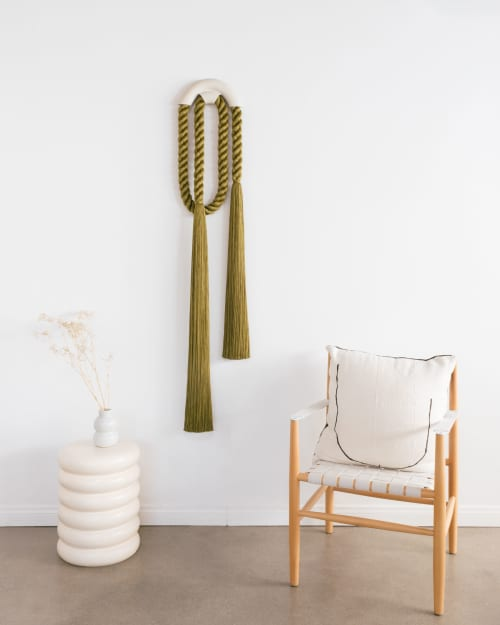 Sculptures by Cindy Hsu Zell - Large Ceramic Arch Loop (Olive)