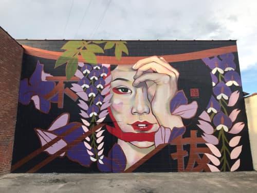 Japanese Kabuki Mural: Exterior Cinder Block   Murals by JUURI